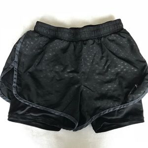Black running shorts with built in spandex